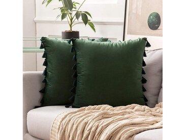 TOPMELON Kissenbezug »Samt«, (2 Stück), mit Reißverschluss, Quaste Design, 45 x 45cm, grün, Grün