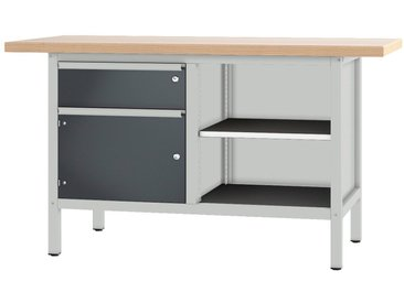 PADOR Werkbank »21 S 25/15 R«, Höhe: 85,5 cm, grau, hellgrau/anthrazit