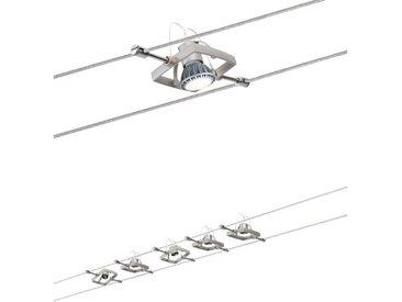 Paulmann LED Deckenleuchte »Seilsystem Mac II Nickel satiniert mit 5 Spots max. 10W GU5,3«, Seilsystem, 5-flammig