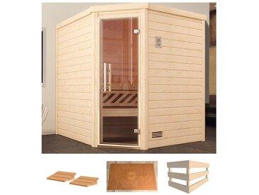 weka WEKA Sauna »Turku Eck 1«, 195x195x204 cm, ohne Ofen, Glastür, natur, ohne Ofen, natur