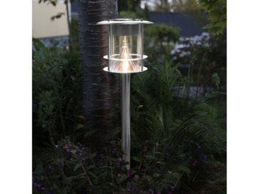 STAR TRADING LED Pollerleuchte »LED Solar Wegleuchte VALENCIA Edelstahl 6 warmweiße LED H: 64,5 Dämmerungssensor«