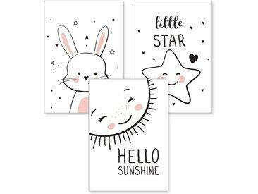 Kreative Feder Poster, Kinderzimmer, Sonne, Hase, Sterne (Set, 3 Stück), 3-teiliges Poster-Set, Kunstdruck, Wandbild, wahlw. in DIN A4 / A3, 3-WP043
