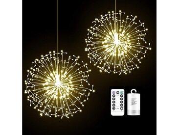 TOPMELON Lichterkette, LED Weihnachtslichtkette, mit Timing-Funktion, Wasserdicht, Batteriebetrieben, weiß, 4 St., Warmweiß