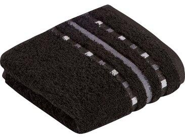 Vossen Waschlappen »Atletico« (3-tlg), mit aufwändiger Bordüre, schwarz, schwarz