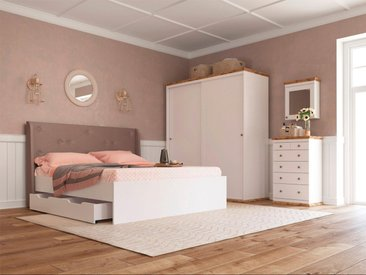 Home affaire Boxbett »Banburry«, mit gepolstertem Kopfteil, inklusive 2 Schubladen, weiß, weiß-braun