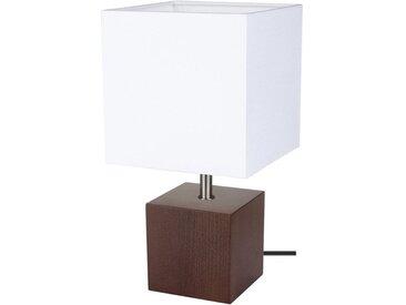 SPOT Light Tischleuchte »Trongo Square«, Dekorativer Leuchtenfuß aus edlem Masivenholz, mit Kabelschalter An/Aus, geeignet für LM E27, Made in Europe