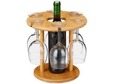 relaxdays Gläserhalter »Weinglashalter Bambus für 6 Gläser«