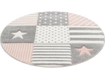 Lüttenhütt Kinderteppich »Stern«, rund, Höhe 13 mm, handgearbeiteter Konturenschnitt, pastellfarben, rosa, rosa