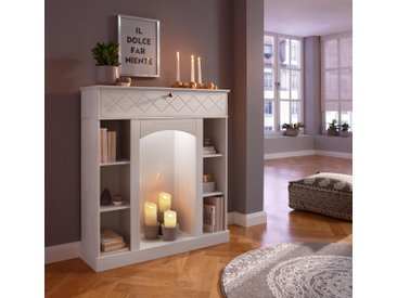 Home affaire Kaminumbauschrank »Abau« inklusive LED Beleuchtung, weiß, cremeweiß