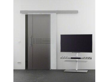 Glastürkontor Hamburg Glasschiebetür »Eco Idea«, mit Stangengriff, in versch. Breiten, weiß, Stange, 102.5 cm, weiß