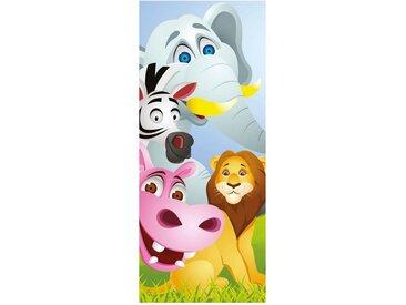 Bilderdepot24 Türtapete, Kinderbild Tiere Cartoon V, selbstklebendes Vinyl
