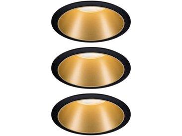 Paulmann LED Einbauleuchte »Cole 3x6,5W Schwarz/Gold matt 3-Stufen-dimmbar 2700K Warmweiß«, Deckenspots, 3er Set
