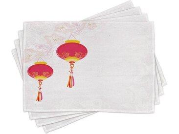 Abakuhaus Tischdecke, »Waschbare Stoff Esszimmer Küche Tischdekorations Digitaldruck«, (4-teilig, 4 Teilig-St., Set aus 4x), Laterne China Neujahr