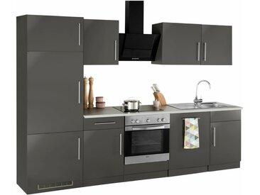 wiho Küchen Küchenzeile »Cali«, ohne E-Geräte, Breite 280 cm, grau, Anthrazit Glanz