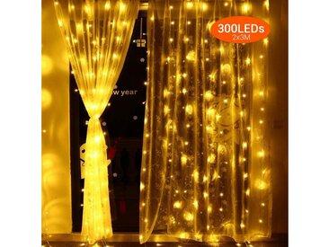 Quntis LED-Lichterkette, 300-flammig, Deko Lichterkette mit 8 verschiedene Leuchtmodi & Memoryfunktion, 300 St. - 2700 K