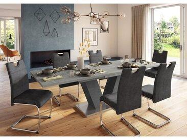 Esstisch »Komfort D«, mit V-Gestell in graphit und mit Auszugsfunktion, Breite 160-260 cm, grau, beton