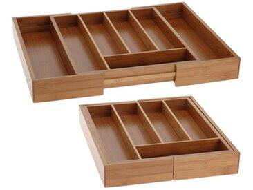 BigDean Besteckkasten »Besteckkasten ausziehbar Besteckeinsatz Bambus Schubladeneinsatz Holz Schublade«