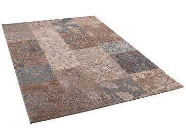 Pergamon Designteppich »Luxus Vintage Designerteppich Patchwork Taupe«, Rechteckig, Höhe 5 mm
