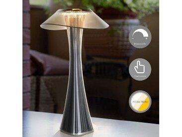 ZMH Nachttischlampe »Dimmbar Tischleuchte in 3 Helligkeitsstufen AKKU«, grau, Rauchgrau