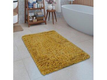Paco Home Badematte »Kanda 360« , Höhe 45 mm, weiche Hochflor Oberfläche, gelb, gelb