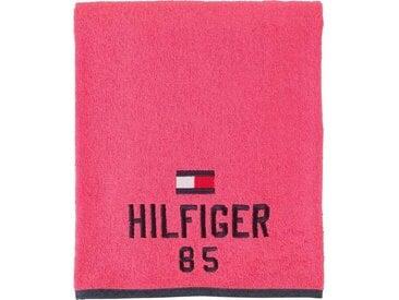 TOMMY HILFIGER Saunatuch »Optimistic« (1-St), mit gesticktem Schriftzug und Tommy Flagge, rosa, cherry
