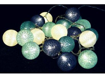 Guru-Shop LED-Lichterkette »Stoff Ball Lichterkette, LED Kugel Lampion..«, türkis/blau/weiß