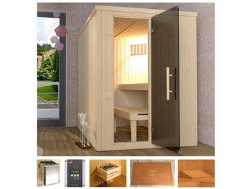 weka WEKA Sauna »Classic«, 154x194x199 cm, 7,5 kW Bio-Kombiofen mit ext. Steuerung, natur, 7,5 kW Bio-Kombiofen mit externer Steuerung, natur