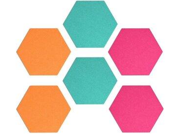 Navaris Pinnwand, Filz Memoboards Set sechseckig - 6x Filzboard 15x17,7x1,5cm mit Stecknadeln und Klebeband - für Küche und Büro, orange