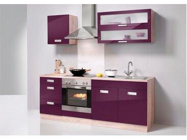 HELD MÖBEL Küchenzeile »Fulda«, ohne E-Geräte, Breite 210 cm, lila, eichefarben/auberginefarben