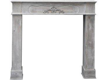 elbmöbel Kaminumbauschrank »Kaminumrandung weiß aus Holz« Wandkamin: Ablage 108x98x23 cm holz grau Dekokamin Vintage Look
