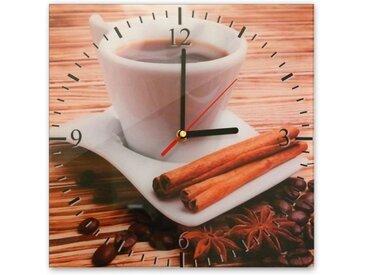 Bilderdepot24 Deco-Panel, Glasuhr - Tasse Kaffee - 031
