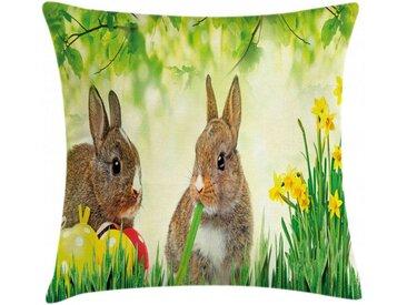 Abakuhaus Kissenbezug »Waschbar mit Reißverschluss Kissenhülle mit Farbfesten Klaren Farben Beidseitiger Druck«, Osterhase Ostern Kaninchen