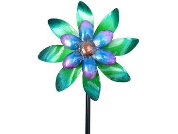 Dehner Gartenstecker »Windrad, Ø 22 cm, Höhe 140 cm, Metall, blau/türkis«