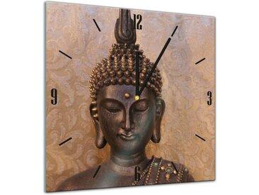 Bilderdepot24 Deco-Panel, Glasuhr - Geist & Seele - Buddha - 40x40cm