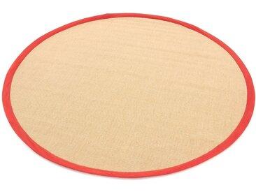 carpetfine Sisalteppich »Sisal«, rund, Höhe 5 mm, rot, rot