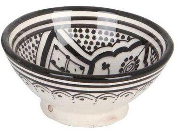 Casa Moro Dekoschüssel »Handbemalte Keramikschüssel KS36 mit Ø 12cm aus Marokko, Orientalischer Deko-Schüssel in Schwarz-weiß, KS1036«, Handmade
