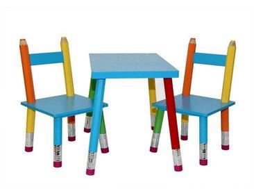 HTI-Line Kindersitzgruppe »Kindertischgruppe Buntstift«, (Tisch und 2 Stühle, 3-tlg), Kindertisch