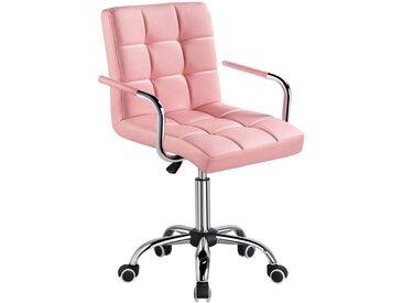 Yaheetech Drehstuhl Bürostuhl, Kunstleder Schreibtischstuhl, höhenverstellbar Chefsessel mit Laufrollen Bürosessel mit Armlehnen, rosa, PU-Kunstleder, Sperrholz