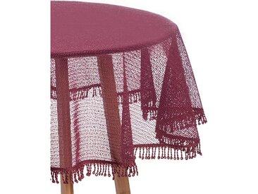 Woltu Gartentischdecke, Tischdecke mit Quaste geschäumt rund, rot, bordeaux