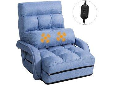 COSTWAY Schlafsofa »Klappsofa Bodenstuhlsofa Liegebett«, verstellbar gepolstert mit Armlehnen und Kissen, blau, Blau