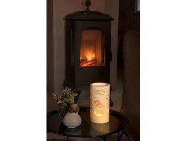 KONSTSMIDE LED Laterne mit Schneemann, Zylinderform, weiß, Lichtquelle warm-weiß, Weiß