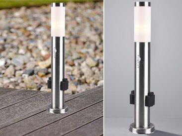 meineWunschleuchte Pollerleuchte, Edelstahl mit Bewegungsmelder & 2 Steckdosen 60cm, Wegbeleuchtung für Außen Garten Terrassen-Leuchte