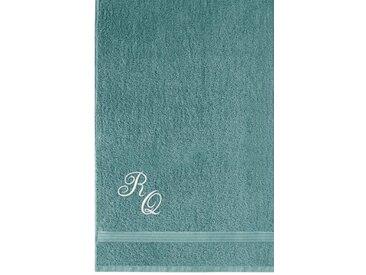 Lashuma Badetuch »Linz« (1-St), XXL Saunahandtuch Bestickt mit Monogramm, Persönliches Liegetuch 100x150 cm, blau, rauchblau