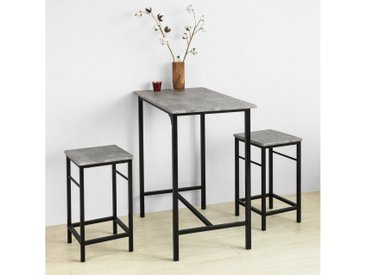 SoBuy Bartisch »OGT10«, Bartisch Set 3-teilig Bistrotisch mit 2 Stühlen, grau, hellgrau