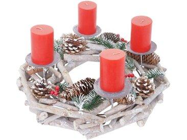 MCW Adventskranz »T867-R«, Ø 35 cm, Mit 4 Kerzenhaltern, Aufwendig geschmückt, weiß, weiß, rote Kerzen