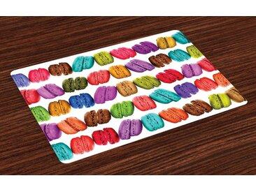 Abakuhaus Tischdecke, »Waschbare Stoff Esszimmer Küche Tischdekorations Digitaldruck«, (4-teilig, 4 Teilig-St., Set aus 4x), Bunt Café-Plätzchen