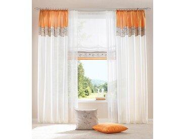 my home Vorhang »Sorel«, Kräuselband (1 Stück), Gardine, Fertiggardine, halbtransparent, orange, kürbis