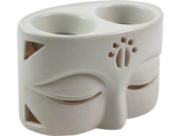 Guru-Shop Duftlampe »Keramik Duftlampe - Buddha 2 weiß«, Buddha 2 weiß