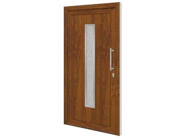 RORO Türen & Fenster RORO TÜREN & FENSTER Kunststoff-Haustür »Otto 16«, BxH: 100x200 cm, golden oak / weiß, ohne Griff, braun, rechts, goldeichefarben