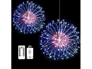 TOPMELON Lichterkette, LED Weihnachtslichtkette, mit Timing-Funktion, Wasserdicht, Batteriebetrieben, bunt, 2 St., Mehrfarbig